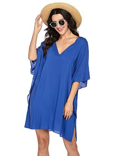 Ekouaer Womens Swimsuit Cover Ups Shirt Beach Bathing Suit Oversized V-Neck Bikini Swimsuit Dresses,Snorkel Blue