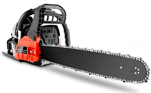 Homdox 62CC 20_Inch Gas Chainsaws, 3.5HP Guide Board Chainsaw Gasoline Powered Handheld Cordless Petrol Gasoline Chain Saw Chainsaw for Garden (Red)
