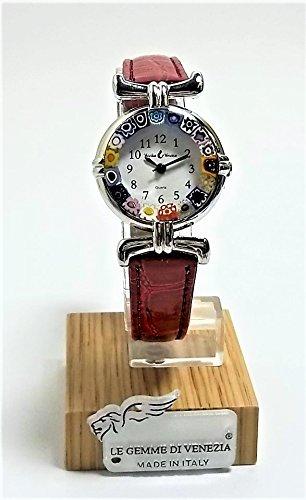 Orologio Donna Acciaio Pelle Rosso Scuro Watch in Vetro di Murano Murrina Millefiori