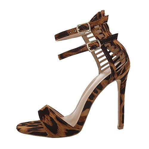 Ital-Design Damenschuhe Sandalen & Sandaletten High Heel Sandaletten Synthetik Leo Multi Gr. 39