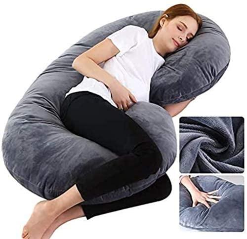 Wndy's Dream Großes Schwangerschaftskissen mit grauem Jerseybezug, C-förmiges Ganzkörperkissen Komfort mit Abnehmbarer waschbarer Samtschale
