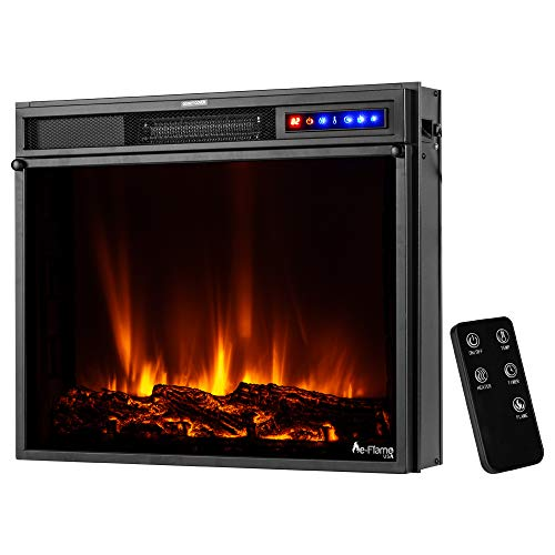 e-Flame USA Breckenridge 63,5 x 20 pulgadas LED eléctrico estufa de chimenea con mando a distancia, troncos 3D y fuego (negro)