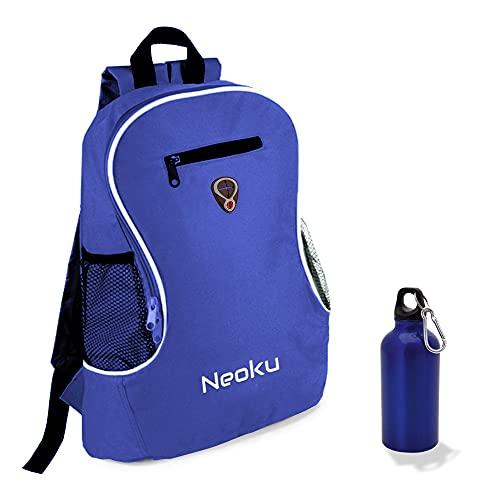 NEOKU - Sac à dos bleu avec bouteille en aluminium de la même couleur incluse et prise casque -...