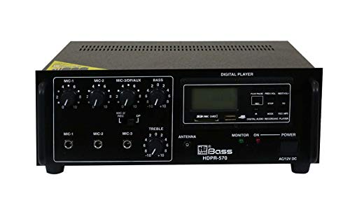 HITUNE BASS PA Amplifier with Built-in Digital Player+Bluetooth HDP-570/HDPR-570BT, 50 WATTS, AC & 12V DC Operation (HDP-570)