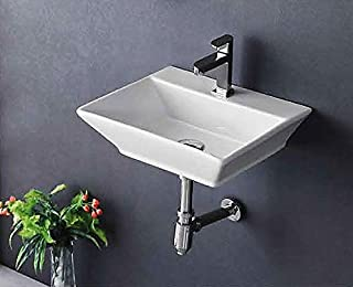 Ceramic Wall Mounted/Wall Mount/Wall Hung Wash Basin Bathroom Porcelain Vessel Sink Above Counter Countertop Bowl Sink for Lavatory Vanity Cabinet Contemporary Style 41 x 41 x 14 Cm White