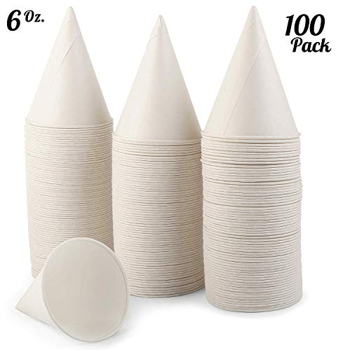 [100 Pack] 6 OZ. White Paper Snow Cone Cups, Disposable Wax Coated Leakproof Shaved Ice Cups, Great Use For Office Water Coolers, Crafts Or As Funnel Cups For Oil Or Protein Drinks.