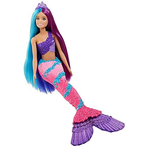 Barbie Dreamtopia Muñeca sirena con pelo de colores, accesorios y peine de juguete (Mattel GTF39)