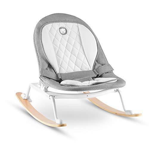 Lionelo Rosa Baby Wippe Baby Schaukel ab Geburt bis 9 kg Einsatz für Neugeborene Holz Kufen Liegeposition Sitz 90 Grad drehbar skandinavisches Design zusammenklappbar, Grau-Weiß