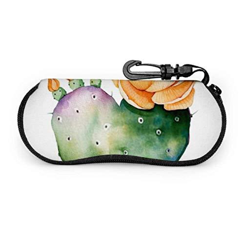 Brillenetui, Aquarell, handbemalte Kaktuspflanze, isoliert auf Sonnenbrille, weiches Etui, ultraleichtes Neopren, Reißverschluss, Brillenetui mit Karabiner, Sonnenbrillenetui für Herren