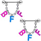 Body Candy Womens 14G Nipplerings Piercing 5/8' Stainless Steel 2Pc BFF Best Friends Forever Dangle Nipple Ring Set 16mm
