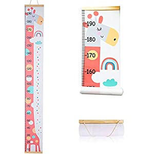 Atomcool Baby Growth Height Chart, Child Height Chart Handing Ruler Wall Decor for Kids, Wood Frame Fabric Canvas Height Measure Chart for Baby Nursery Decoration (Pink Giraffe)
