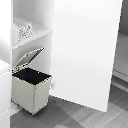 Emuca 8906621   Cubo de basura para reciclaje, fijación inferior y extracción manual con 1 contenedor de 16 litros y tapa automática