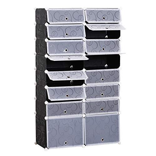HOMCOM Schuhschrank DIY Schuhregal Garderobe Regalsystem Steckregal Garderobenschrank 16 Fächer aus PP Schwarz + Weiß 95 x 37 x 160 cm