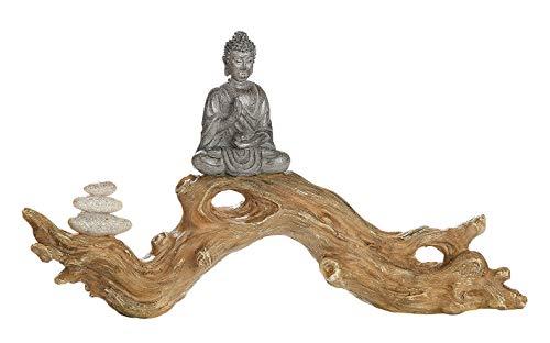 GILDE Figur Zen Buddha auf Baumstamm meditierend Feng Shui Silber Breite 32 cm