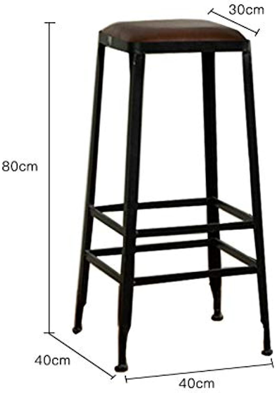 JEZBSY Bar stools bar stools Solid Wood European Wrought Iron bar Stool bar Stool Modern Minimalist Chair high Stool JEZBSY (Size   C)