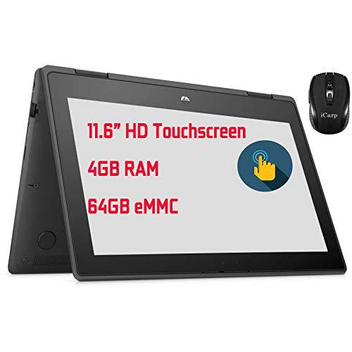 "Flagship HP ProBook x360 11 G5 EE 2 in 1 Laptop 11.6"" HD Touchscreen Display Intel Celeron N4020 Processor 4GB RAM 64GB eMMC USB-C HDMI Win10 Pro+ iCarp Wireless Mouse"