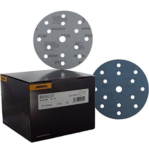 Mirka Basecut 150mm/15,2cm Schleifscheiben–Box 10015,2cm Schleifmittel P120Körnung grob Verdünnung Schleifpapier Schleifscheiben 15Loch Vakuum Staubabsaugung