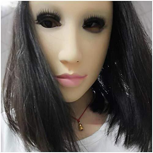 Weiche Latex Realistisch Female Kopfmaske Handgemachte Gesicht für Erwachsene Maskerade DWT Transgender Halloween Kostüme (ohne Perücke)