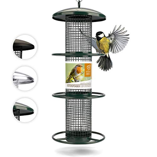 corazón animal salvaje | Comederos para aves de comida de grano, 35 cm, con plazas de acero inoxidable, columna de alimentación para pájaros, lleno de maní [verde]