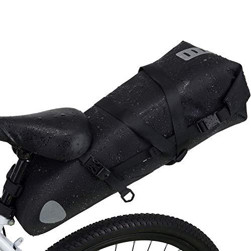 Wildken Satteltasche Wasserdicht 10L Fahrradtasche Fahrradsattel Tasche für Rennrad Mountainbike (Schwarz)