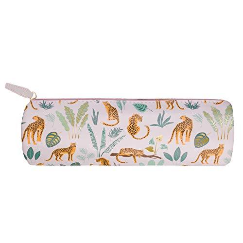 Eccolo Runde Reißverschlusstasche für Stifte oder Bleistifte, perfekt für Schreibwaren, Kosmetik, Schule/Arbeit oder Reisen. Premium PU Leder 20,3 x 7,6 cm Rosa Gepard