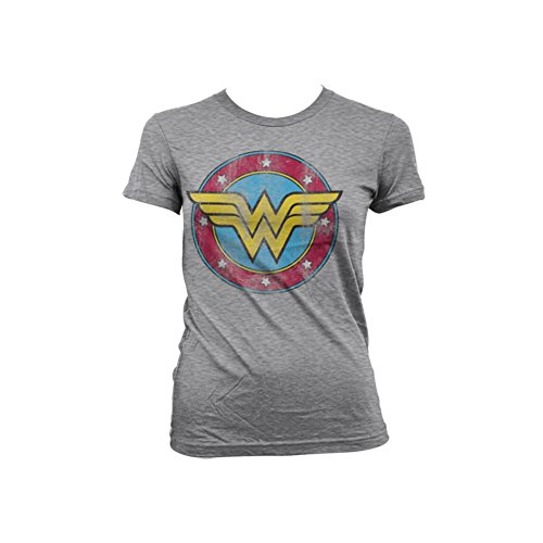 Wonder Woman Officially Licensed Merchandise Distressed Logo Girly Tee (H.Grey), Small