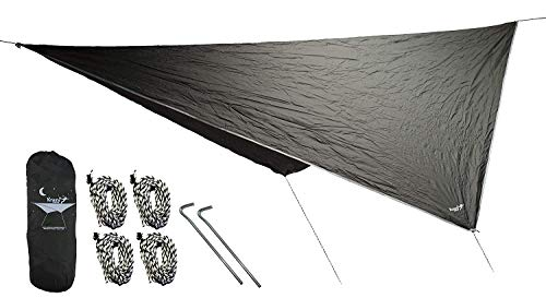 Krazy Outdoors Hammock Rain Fly - Extra Strong Rain Tarp with 70D Polyester Ripstop Quality - Strong Ropes and Pegs & Carrying Pouch - Protects Hammock from Sun, Provides Shade (Dark Green)