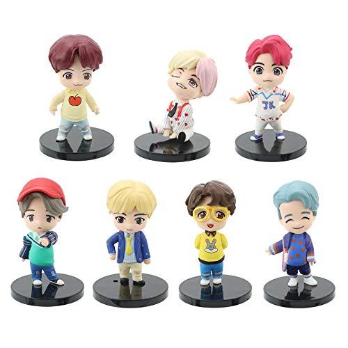 K-POP BTS Mini Figurine 7pcs Figurines Bangtan Boys Gâteau Cake Topper Mini Figurine Jouet PVC Jouet Boys Personnages Figure Jouets pour Enfants Animaux Jouets Ensemble (Version 1)