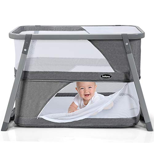 INFANS 3 in 1 Portable Travel Crib/Baby Bassinet/Rocking Bed, Folding Playard for Newborn w/Side Zipper, Detachable Mattress, Installation-Free, Lightweight Playpen for Infant & Toddler, Grey