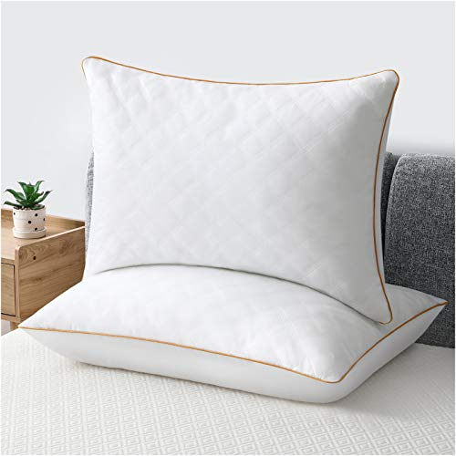 LUTE Bed Pillows Set of 2 Hotel Collection Gel Sleeping Pillow Cooling Pillow with Soft Premium Plush Fiber Fill Good for Side Back Stomach Sleepers (White, King)