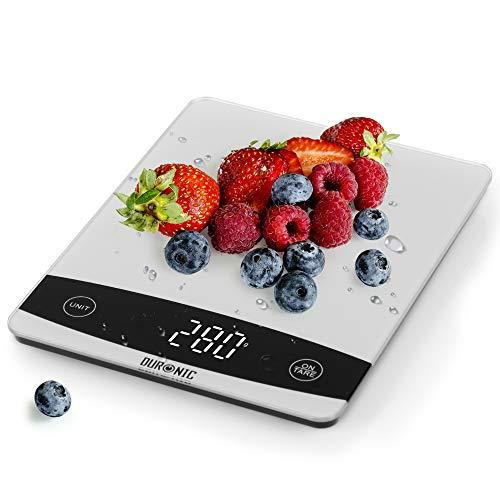Duronic KS1009 Báscula de cocina digital 16x20cm – Pantalla LDC con lectura de dígitos fácil – Peso máximo 10kg – Función tara – Mide en gramos, libras, onzas fluidas y mililítros – Color gris