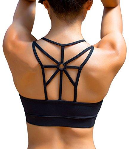 YIANNA Damen Sport BH Ohne Buegel Bequem Bustier Elastizität Fitness Yoga Sports Bra Crop Top mit Abnehmbare Gepolstert Schwarz,YA139 Size M