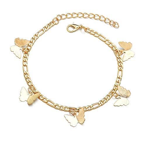 Bracelet de cheville pendentif papillons colorés...