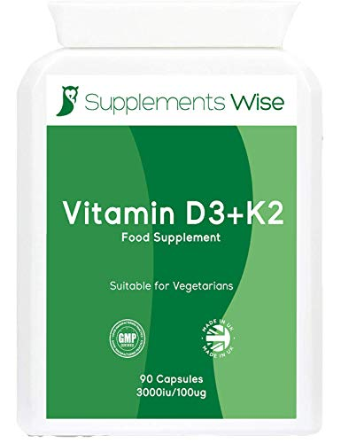 Vitamin D3 K2 Supplement - 90 Capsules - D3 3000iu, K2 100ug MK7 - High Strength Immune System Support - Blood Calcium Levels - Maintain Bones, Teeth and Muscles - One a Day, 3 Months Supply