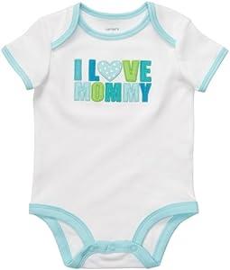 Carter's Body Talla 68/74 Little I Love Mommy US Size 9 Month Girl Onesie Blanco Ropa interior bebé niña