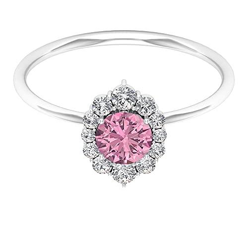Anillo solitario de turmalina rosa de 3/4 quilates con halo de diamantes (turmalina rosa de 5 mm), oro blanco, turmalina, tamaño: UK R1/2