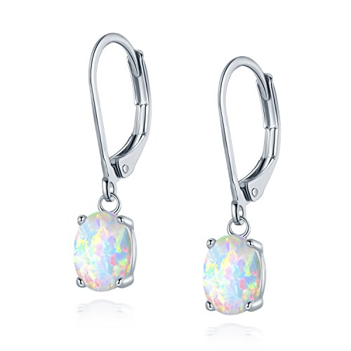 Leveback Dangle Earrings Created White Oval Opal 6x8mm for Women Teen Girls Nickel Free 18k White Gold Plated OPALTOP