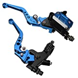 Lisyline Universal Motorcycle 7/8' 22mm Handlebar Brake Master Cylinder Clutch Lever Left & Right Set for Harley Honda Kawasaki Suzuki Yamaha (Blue)