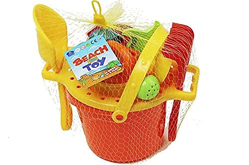 WISHKEY Sand Game Castle Building Plastic Beach Toy Set for Kids Summer Fun Creative Activity Playset & Gardening Tool with Fishes, Duck & Bucket (Pack of 9, Multicolor)