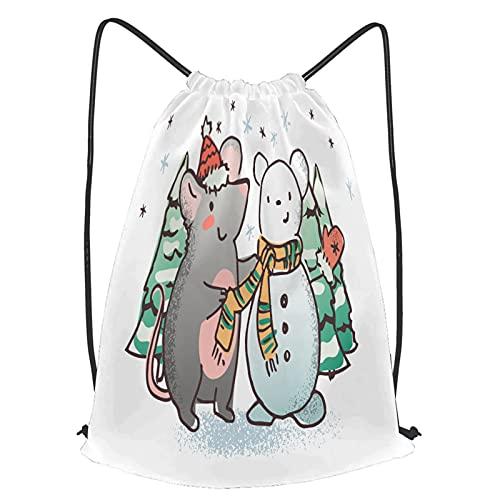 YMWEI Impermeable Bolsa de Cuerdas Saco de Gimnasio rata ratón haciendo hombre de nieve invierno Deporte Mochila para Playa Viaje Natación