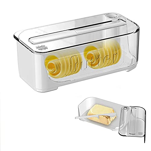 Himamonkey Plastic Butter Dish with Lid, Butter Container with Butter Knife, Integrated Side-Open Butter Dishes Perfect Suitable for East/West Coast Standard Butter Stick,White,Transparent