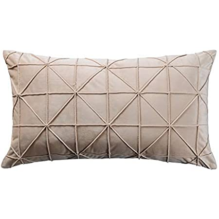Jwh Geometric Throw Pillow Cover Handmade Cushion Cover Velvety Pillow Case Decorative Pillowcase Soft Home Bed Room Decor Gift 14 X 24 Inch Creamy White Home Kitchen