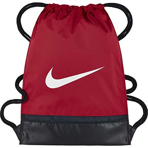 Nike Brasilia Training Gymsack, Drawstring Backpack with Zippered Sides, Water-Resistant Bag, University Red/Black/White