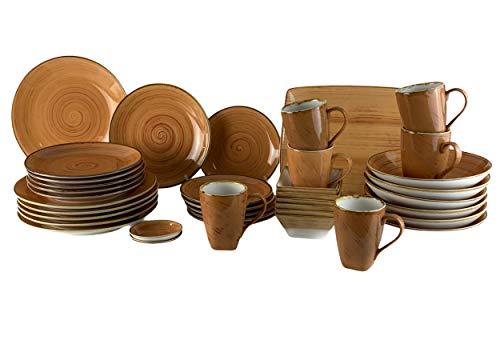 Blanca's Feel Vajilla Completa Porcelana 48 piezas color marrón canela servicio para 6 personas pintado a mano