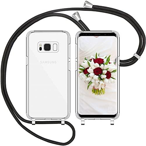Nupcknn Handykette Hülle für Samsung Galaxy S8 Hülle TPU Bumper+PC Back Necklace(abnehmbar) Transparent Hülle mit Kordel zum Umhängen Handy Schutzhülle mit Band(Schwarz)
