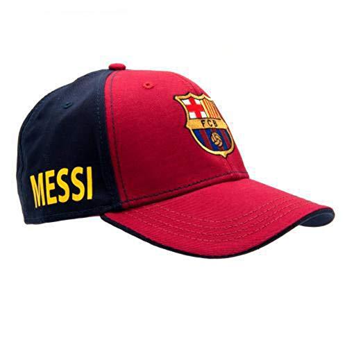 FC Barcelona Messi Cap – toller Hut mit Barcelona Team-Farben und Wappen – mit Messi auf der Seite – Klettverschluss hinten – Einheitsgröße – Offizielles Produkt – Messi