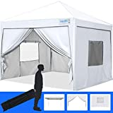 Quictent Privacy 8x8 Ez Pop up Canopy Tent Enclosed Instant Canopy Shelter Protable with Sidewalls and Mesh Windows Waterproof (White)