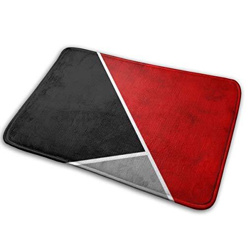 Meiya-Design Tapis de salle de bain avec bloc de couleur rouge, gris noir, doux et absorbant, tapis de bain antidérapant et en peluche pour salle de bain, salon et buanderie 39,9 x 59,9 cm