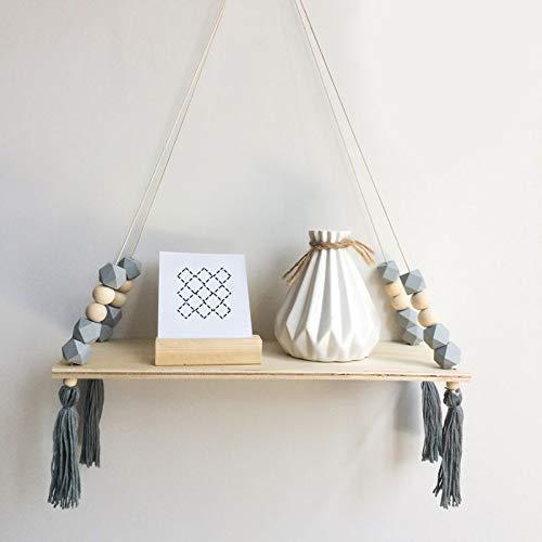 Wanddecoratie plank, Kids Babykamer Houten Kralen Tassel Wandplank Ruimte Opslag Organisatie Schommelplank Wandopknoping Decor, Zeven Kleuren Optioneel (kleur : 4#)