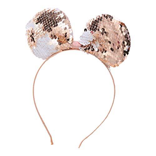 ZADAWERK® haarband - ronde oren - omkeerbare pailletten - roségoud - dames - muis - JGA